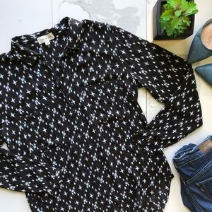 Anthropologie Cloth & Stone Black And White Top